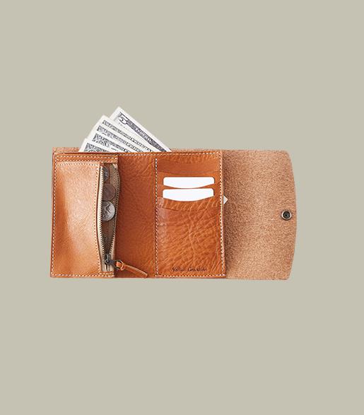 本革三つ折り財布