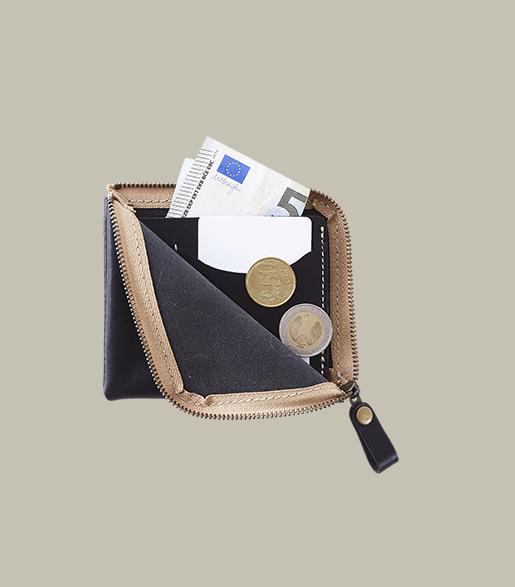 本革L字ファスナー 薄型ミニ財布